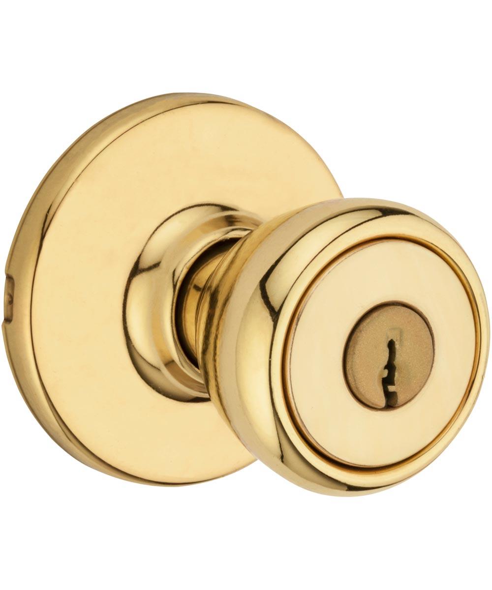 Kwikset Tylo Keyed Entry Door Knob, Polished Brass