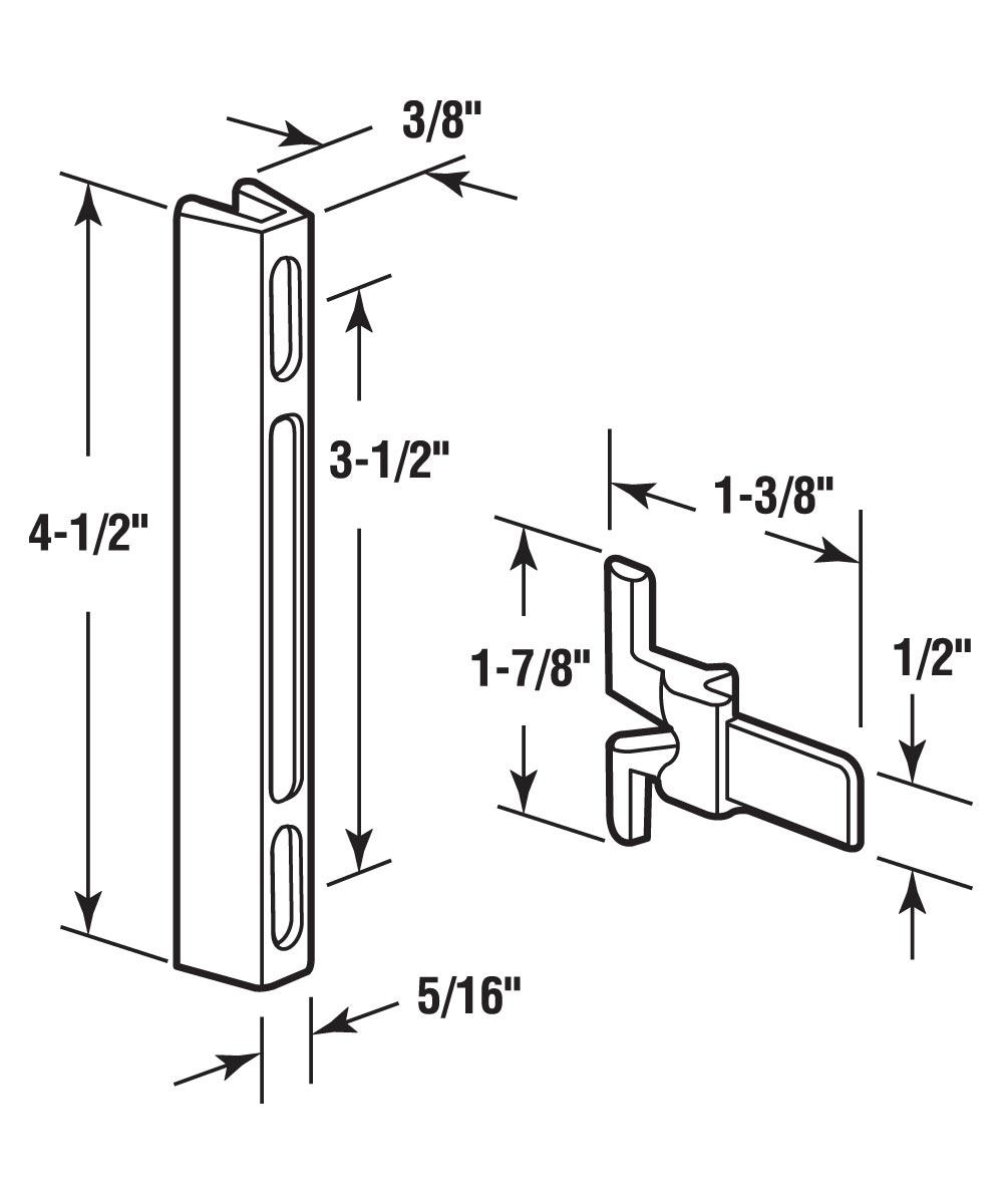 A 140 Sliding Screen Door Aluminum Latch & Nylon Keeper, 3-1/2 in. Mounting Holes