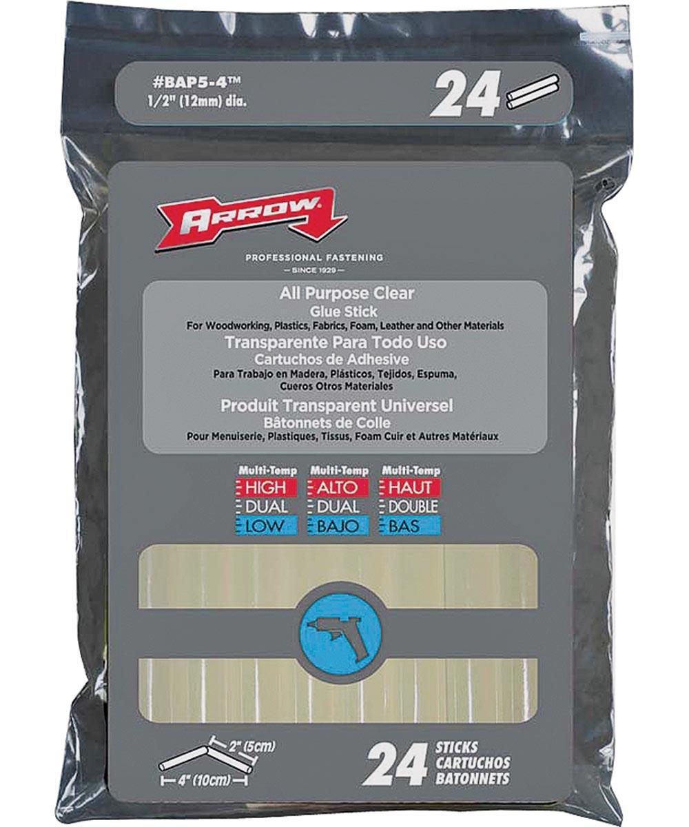 24 Pack All-Purpose Glue Stick, 1/2 in. (Dia) x 4 in. (L), Clear