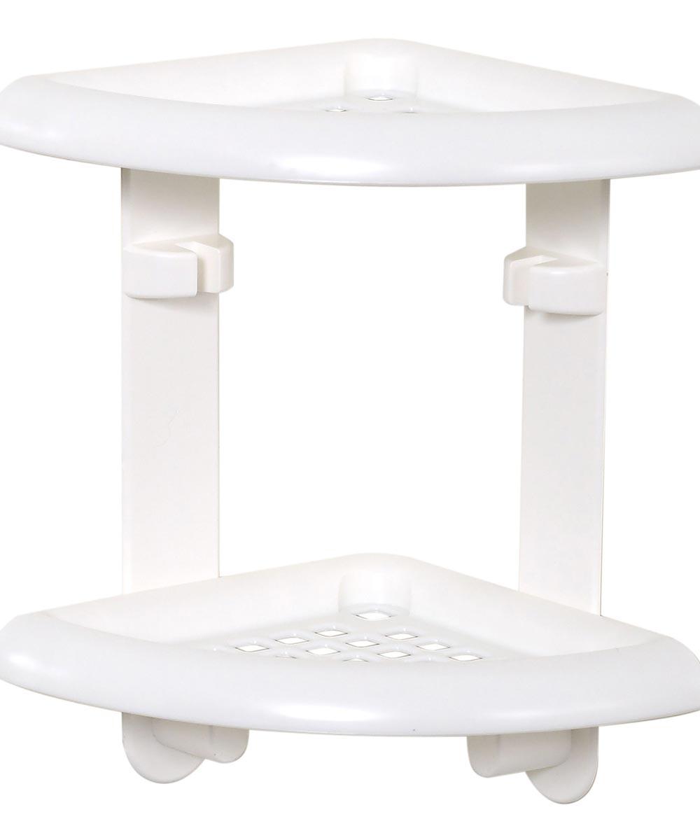 Zenna Home White Adhesive Plastic Corner Shower Caddy