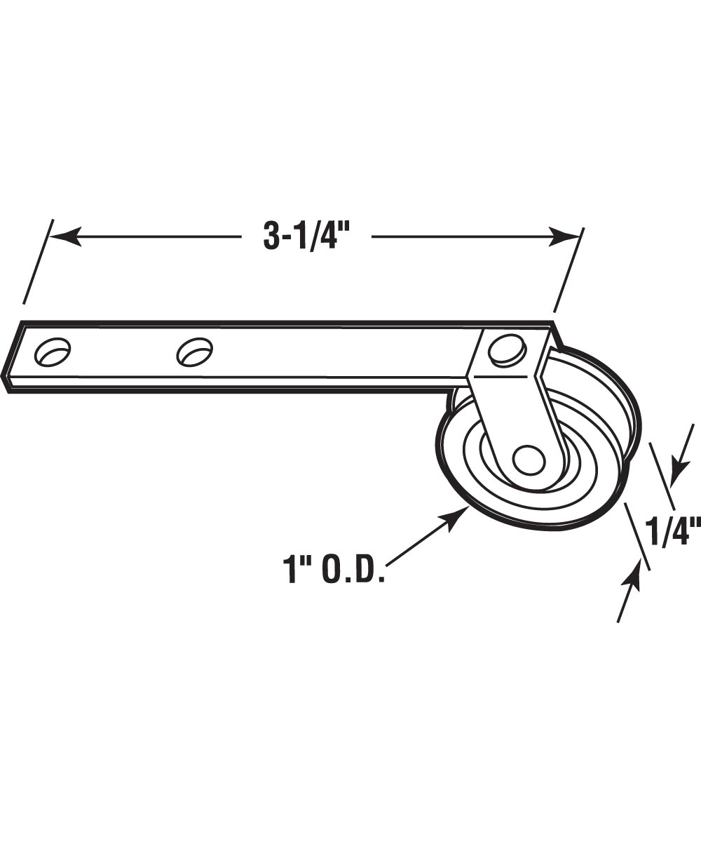 B 523 Screen Door Roller, 3-1/4 in. Flat Tension Spring, High Density Polyethlene Roller, 2 Pack