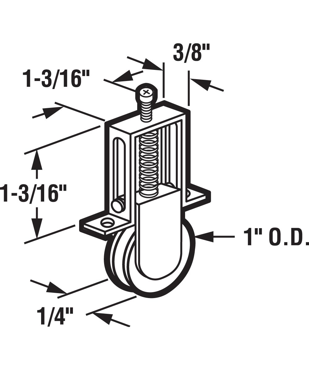 B 617 Sliding Screen Door Insert Roller, Aluminum Housing & Steel Roller, 2 Pack