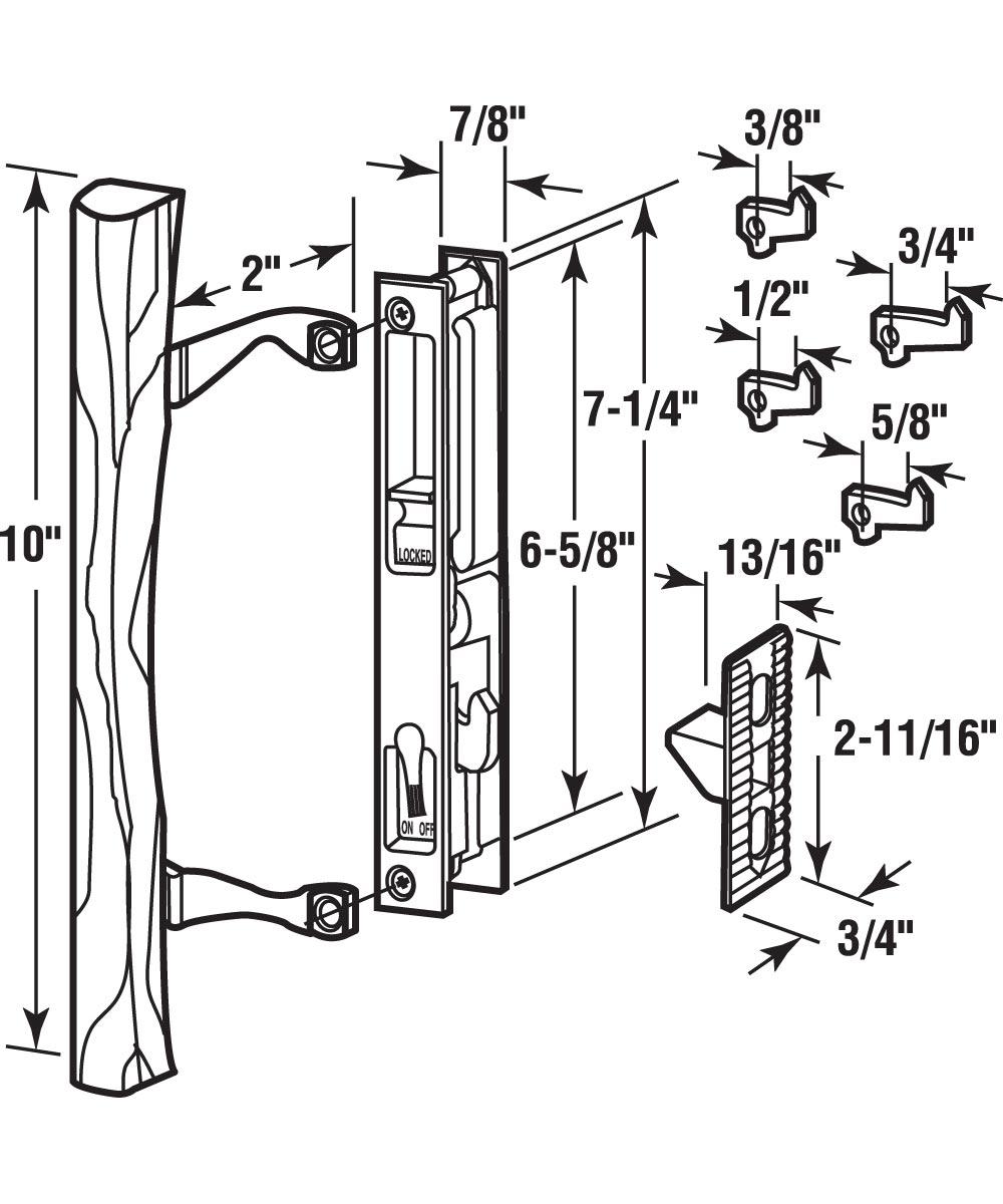C 1032 Patio Door Flush Handle with Wood Handle Pull & Keeper, Black