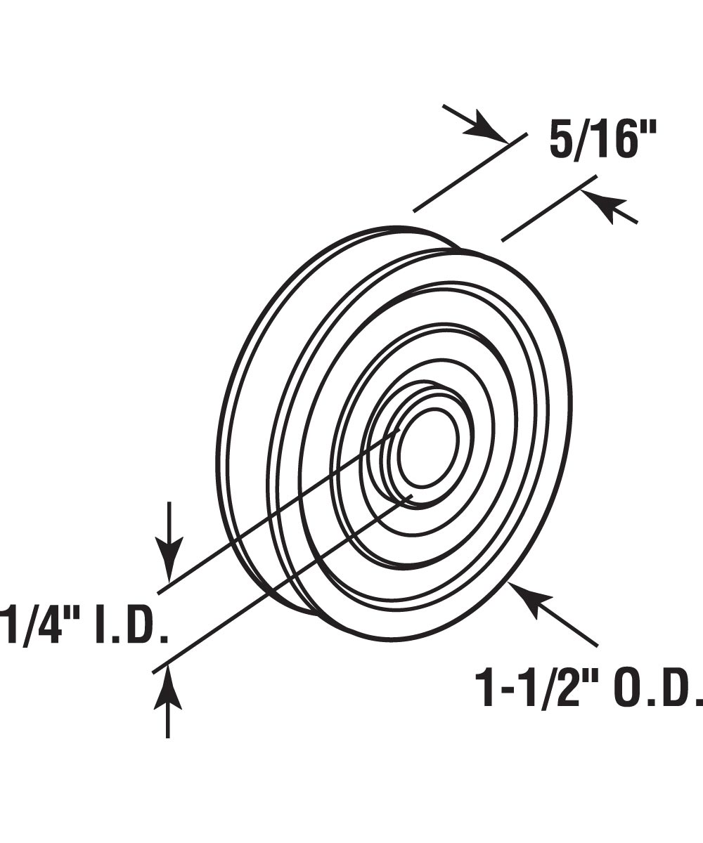 D 1506 Nylon Ball Bearing Roller Replacement, 1-1/2 in. Diameter, 2 Pack