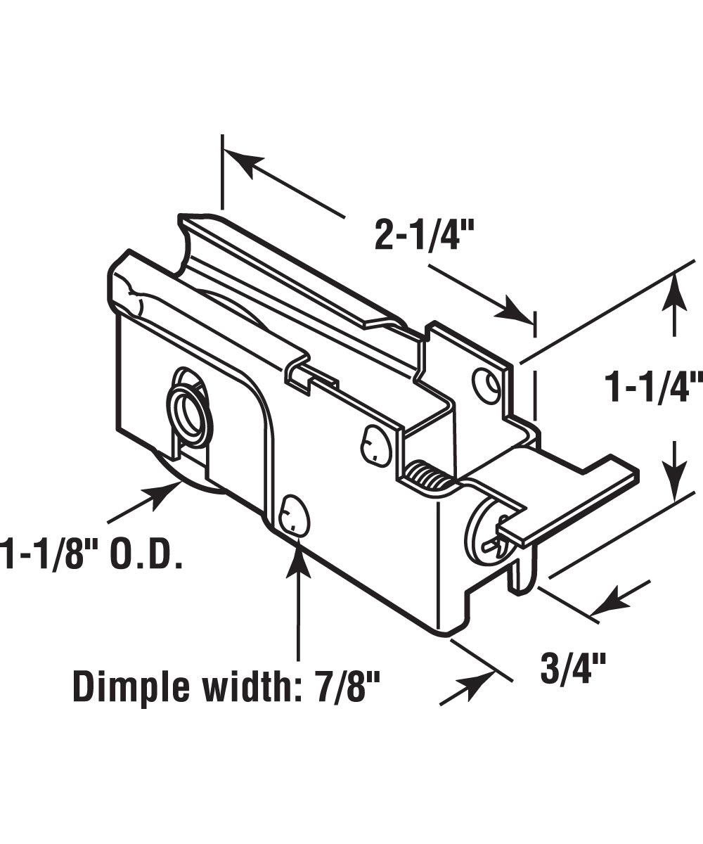 D 1523 Single 1-1/8 in. Steel Ball Bearing Roller, K Tab Style, Adjustable, 1 Pack