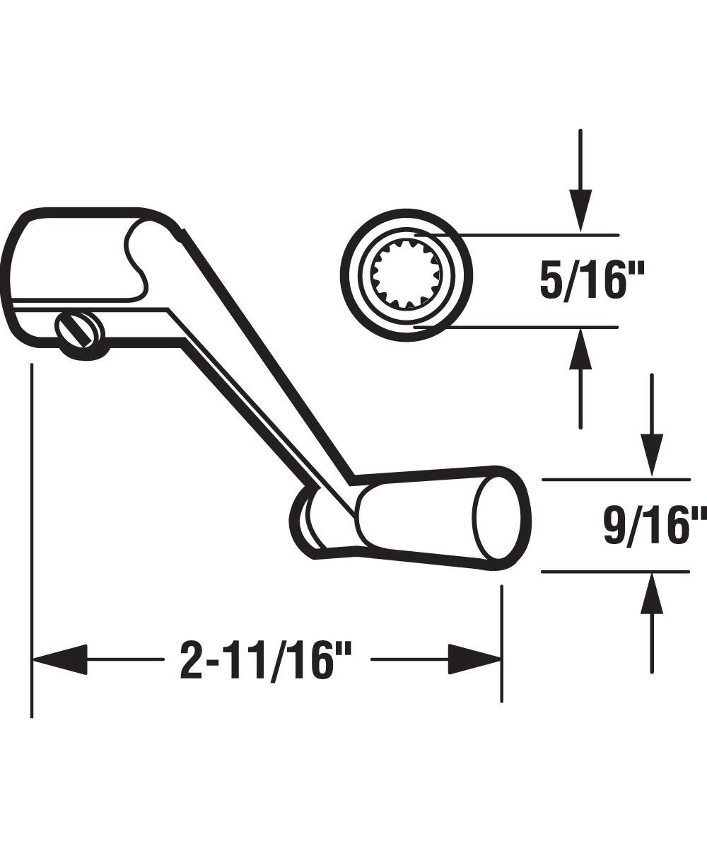 Casement Operator Crank Handle, Aluminum, 5/16 inch Spindle, 1 per pkg.