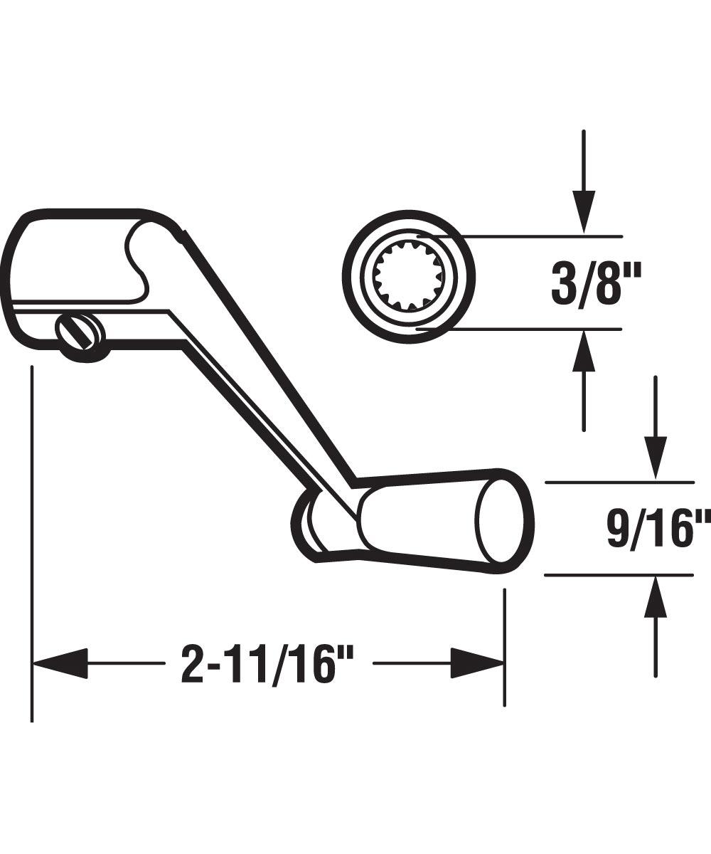 Casement Operator Crank Handle, Aluminum, 3/8 inch Spindle, 1 per pkg.