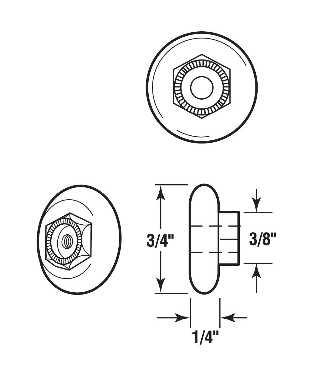 Tub Enclosure Roller, Oval Wheel, 3/4 inch Diameter, Ball Bearing, Pack of 2