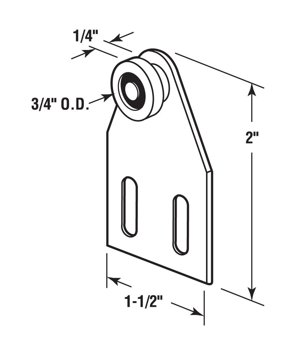 Tub & Shower Roller Assembly, Flat Bracket, 3/4 inch flat roller, Pack of 2