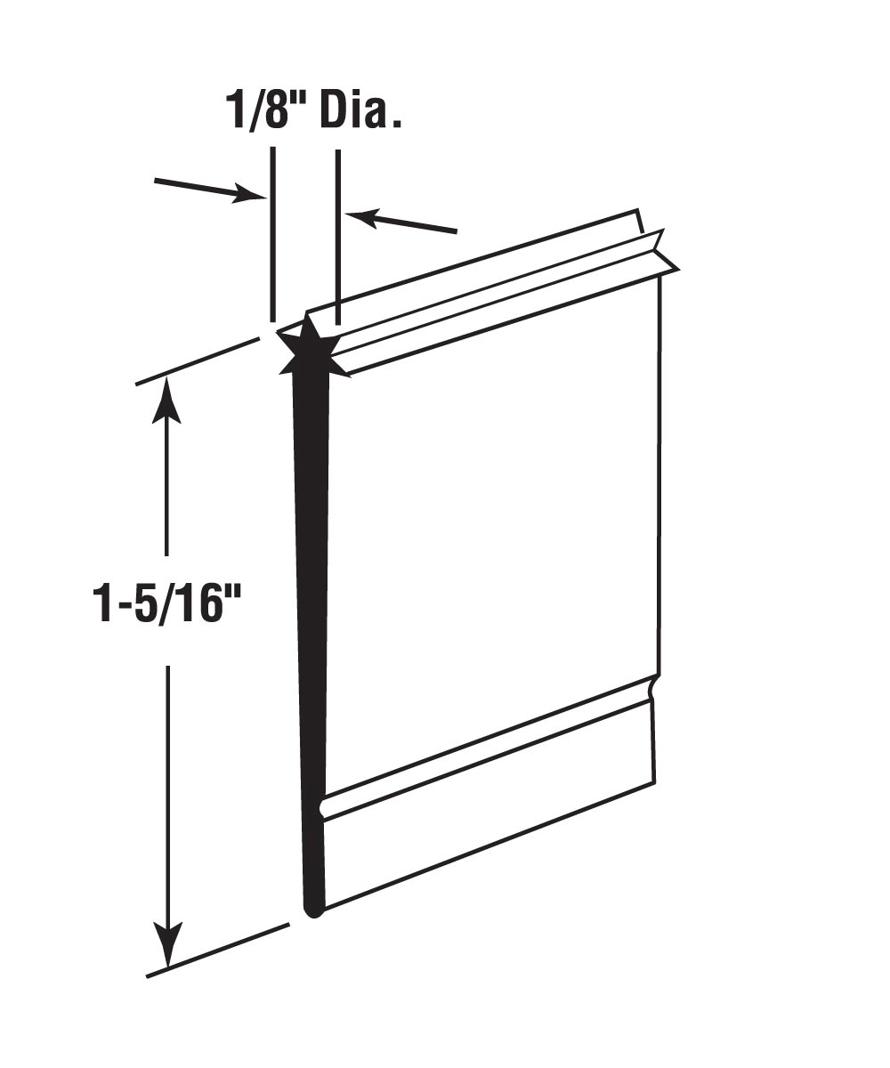 Shower Door Bottom Sweep, Star Insert shape, 1-5/16 inch wide, 36 inches, Pack of 1