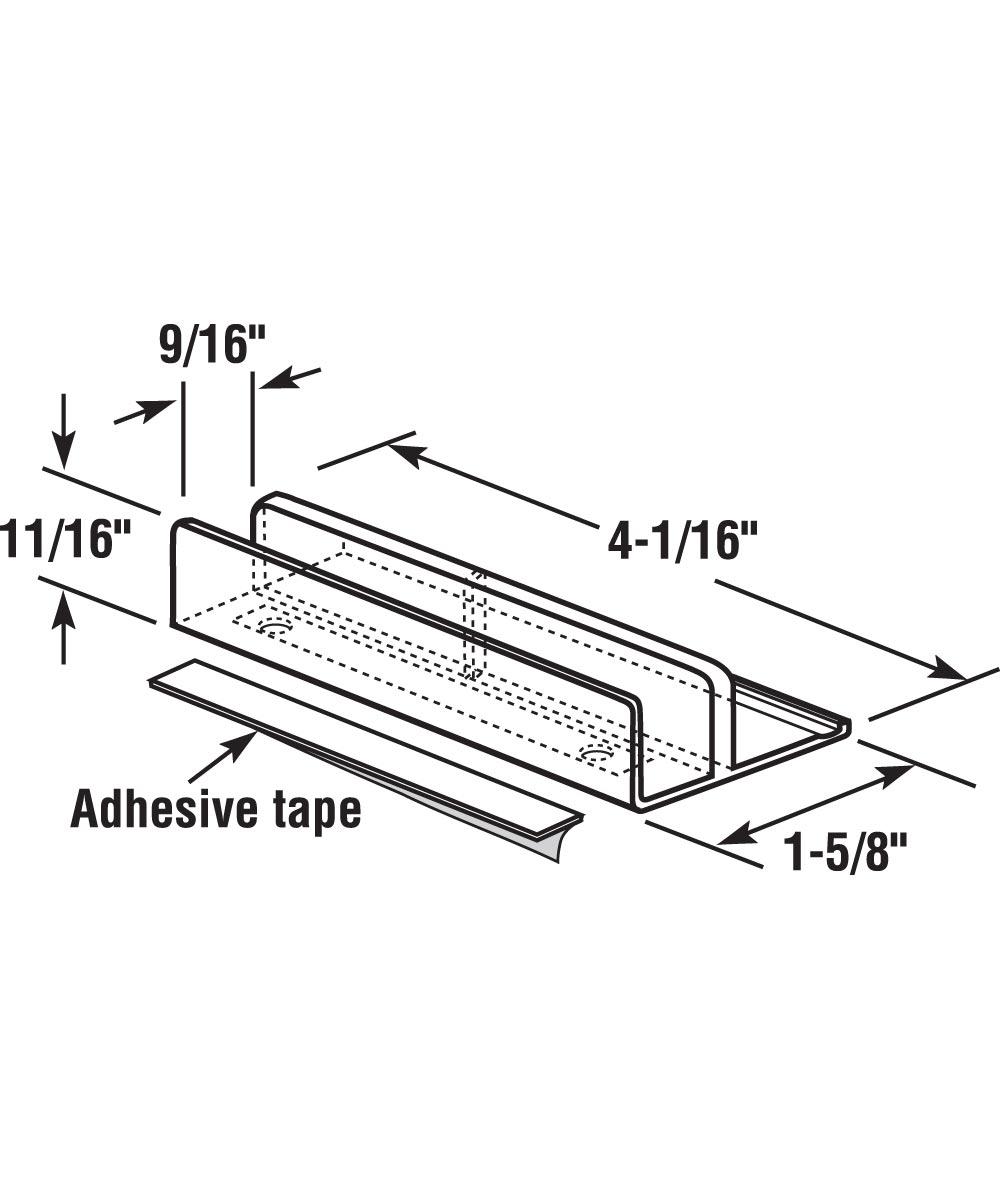 Tub Enclosure Bottom Guide, International Brand Clear Nylon, Pack of 2