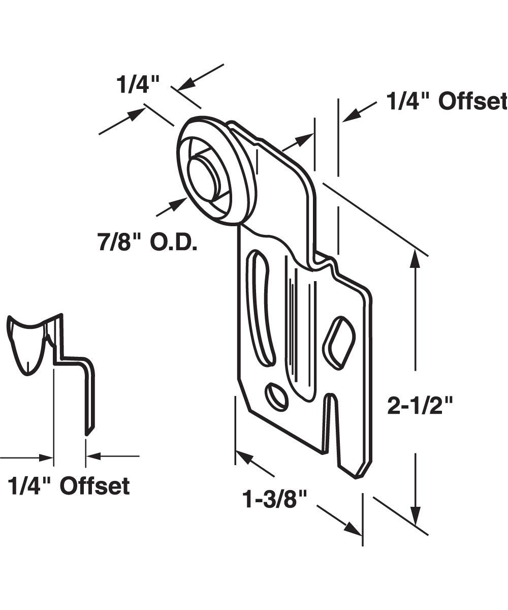 Wardrobe Door Roller Assembly, Front, 7/8 inch nylon roller, Pack of 2