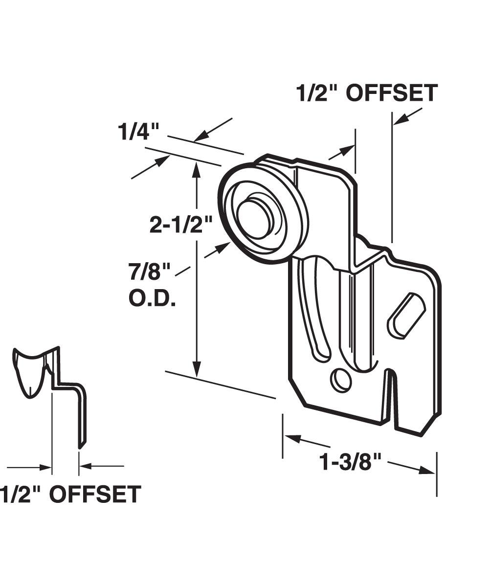 Wardrobe Door Roller Assembly, Back, 7/8 inch nylon roller, Pack of 2