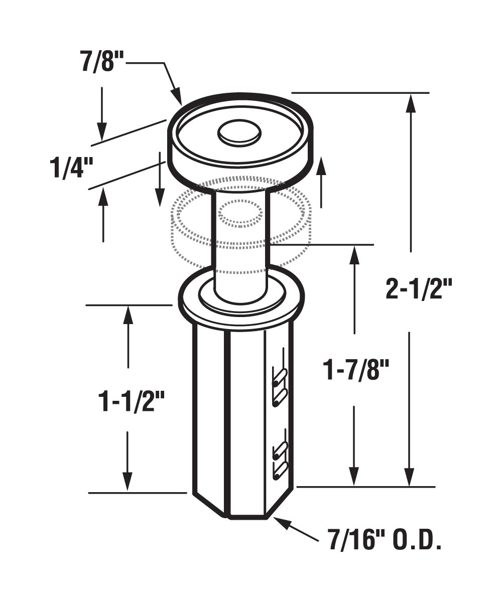 Bi-Fold Closet Top Roller Guide, 7/8 inch, Acme, Stanley, Cox, 2 per package