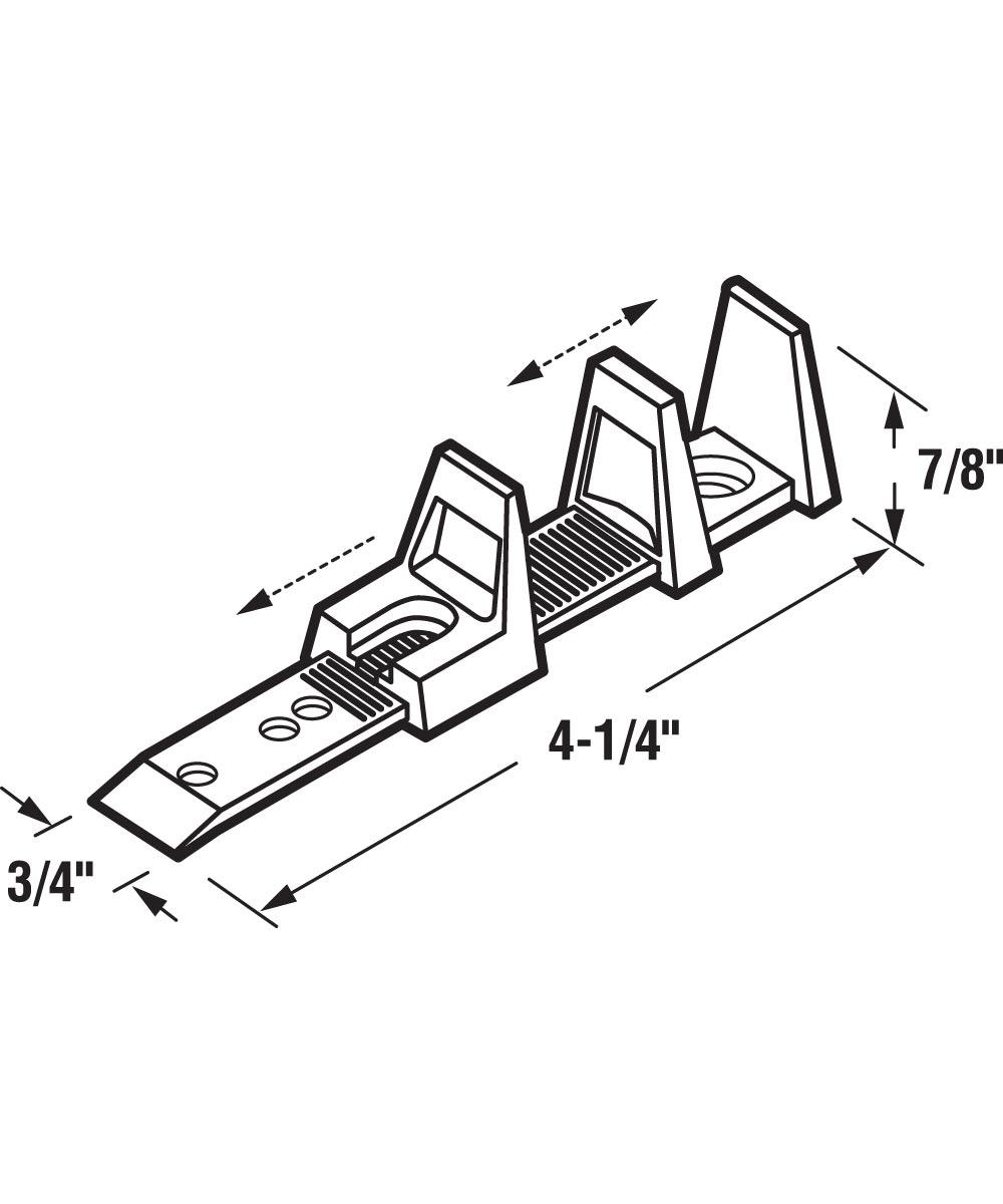 4-1/4 Sliding Closet Door Floor Guide, Adjustable, Nylon, 2 per package