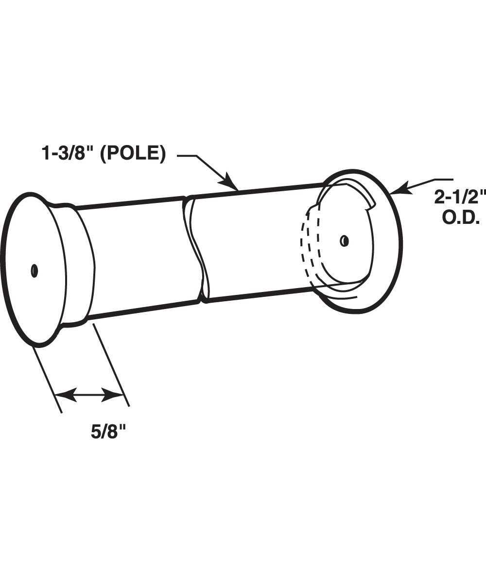 Closet Pole sockets, Hardwood, Fits 1-3/8 inch pole, 2 per package.