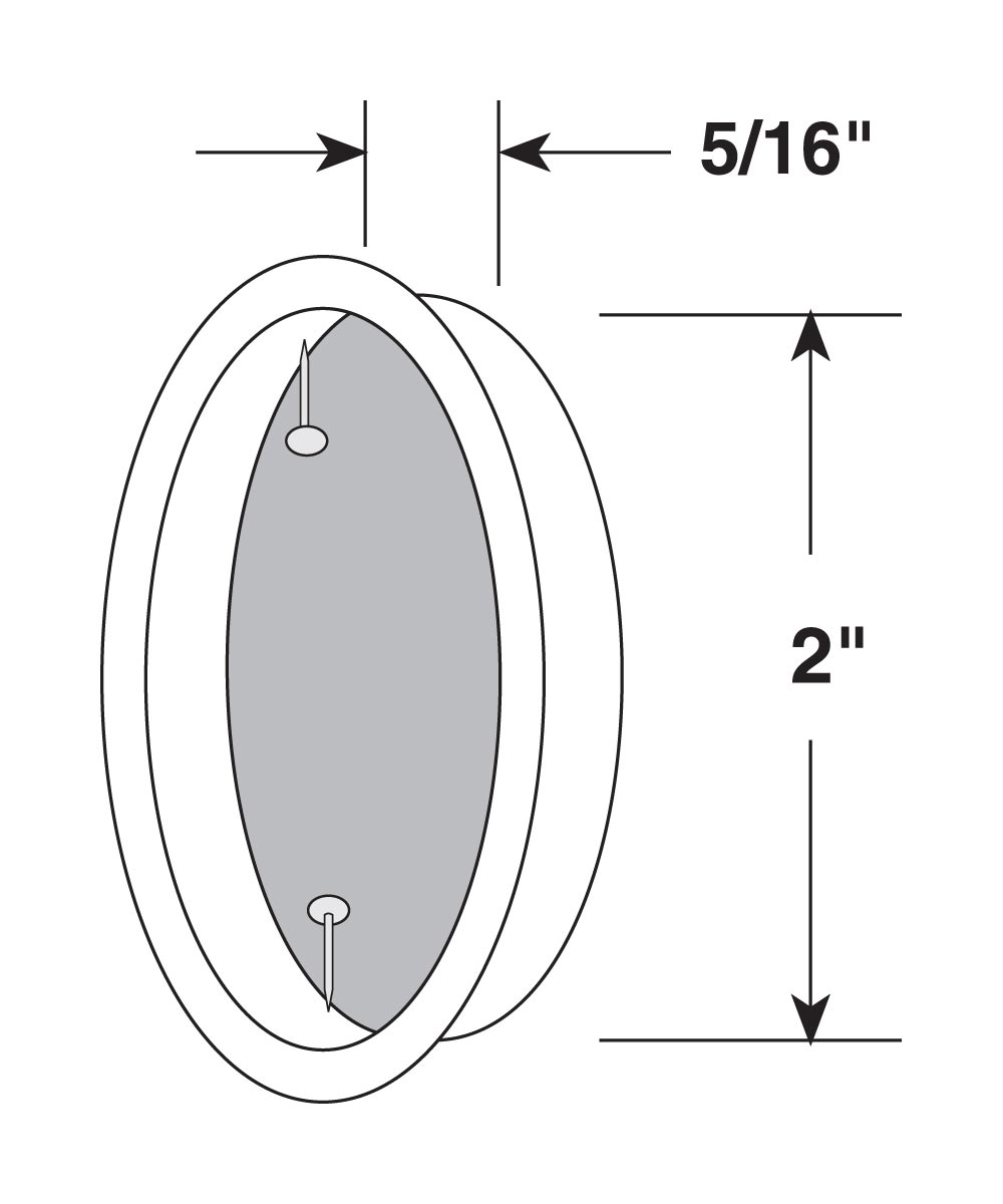 2 inch inset sliding closet door pull handle, Chrome plated, 2 per pkg.