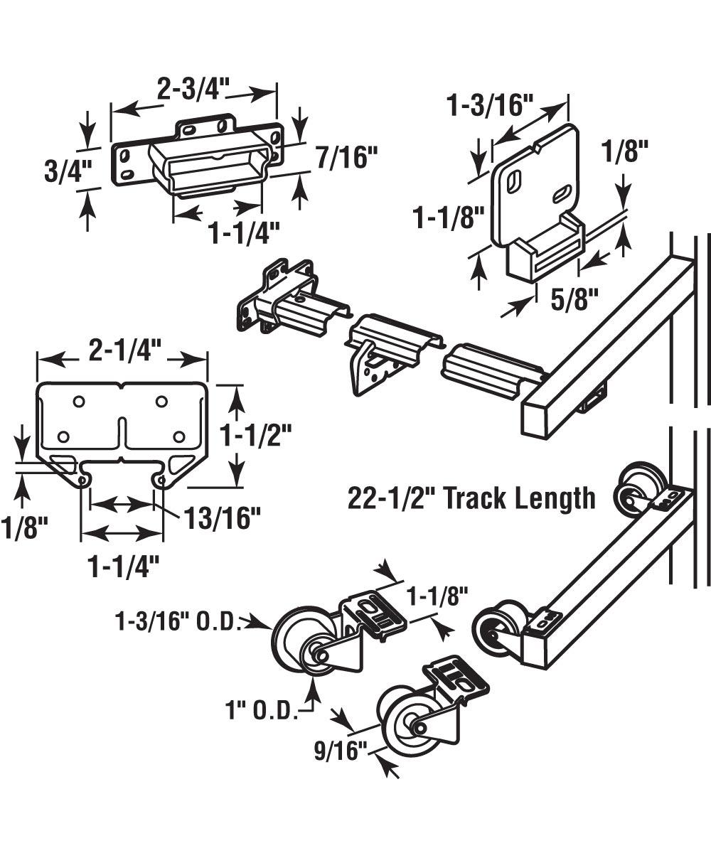 R 7125 Drawer Track Repair Kit, 22-1/2 in., Steel Track, Plastic Guides & Wheels