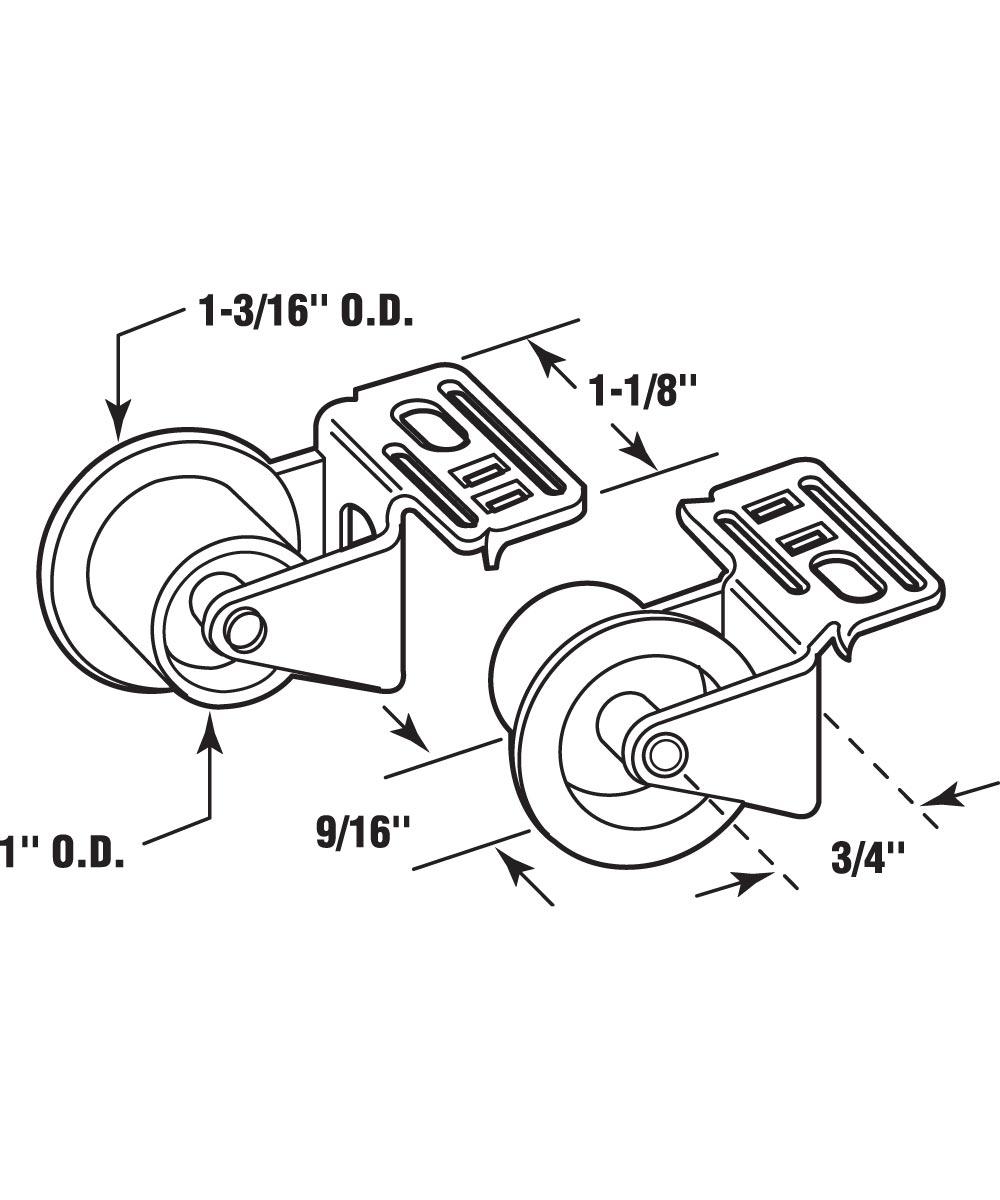 R 7147 Drawer Guide Roller Assembly, 1 in. Outside Diameter, Plastic Wheel on Steel Bracket