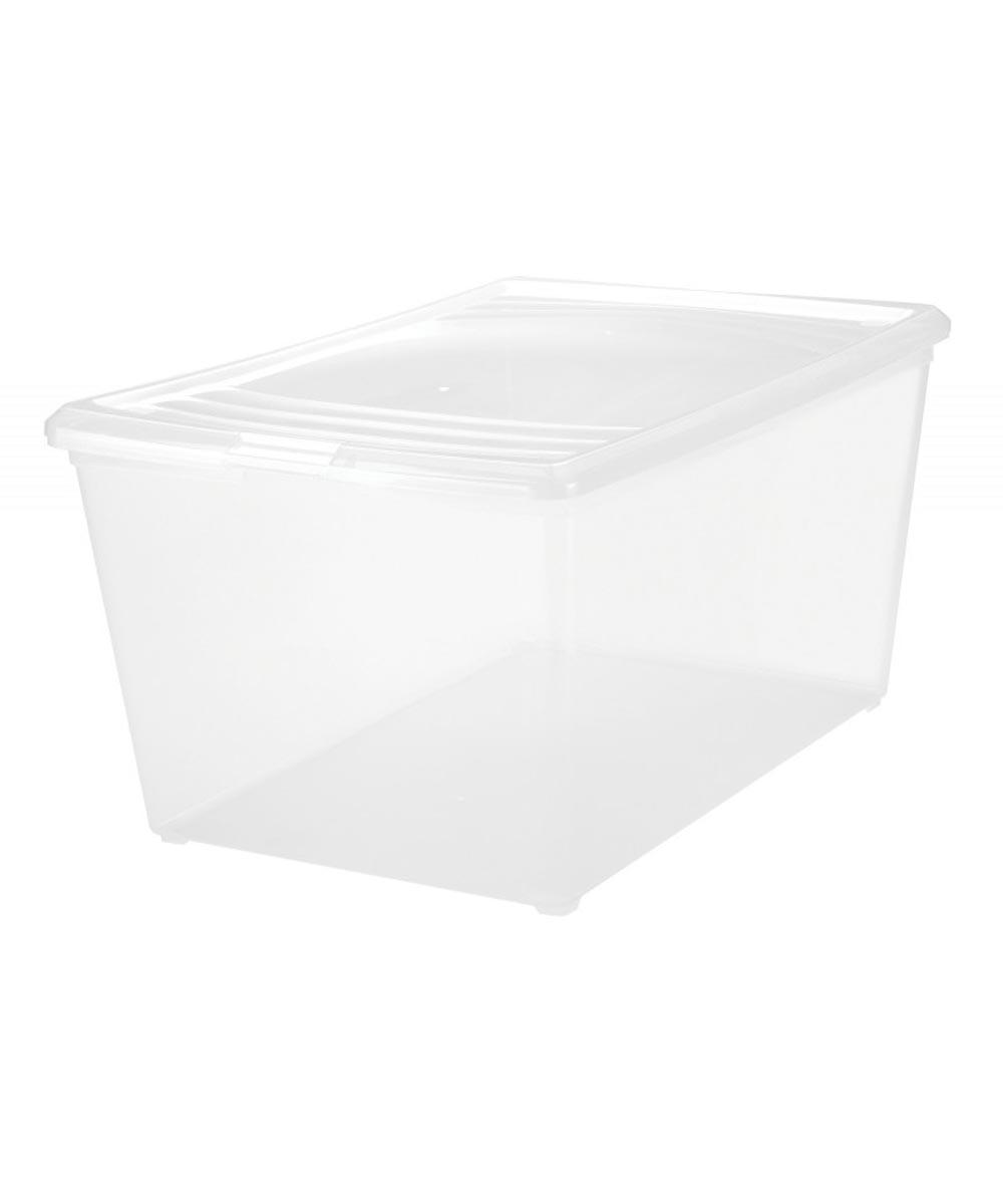 Modular Deep Storage Box, Clear, 64 Quarts / 16 Gallons