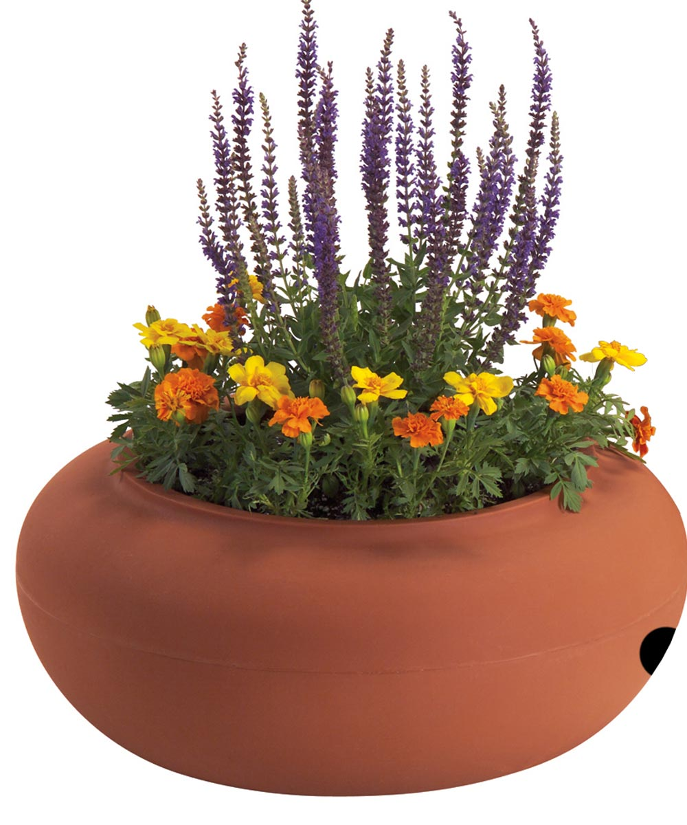 21 in. Terra Cotta Colored Plastic Garden Hose Pot
