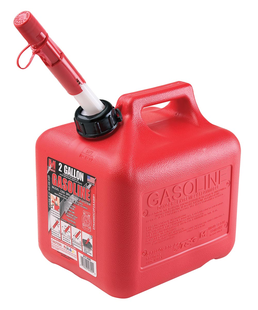 2 Gallon Plastic Spill-Proof Gas Can