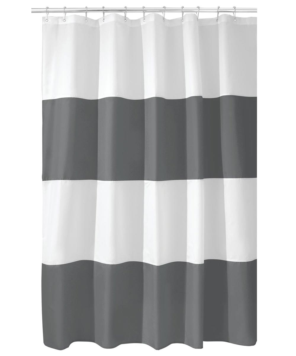 Shower Curtain 72 in. Fabric Zeno Charcoal/White