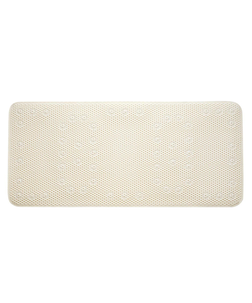 36 in. x 17 in. Ecru Soft Cushion Non-Slip Suction Bath Mat