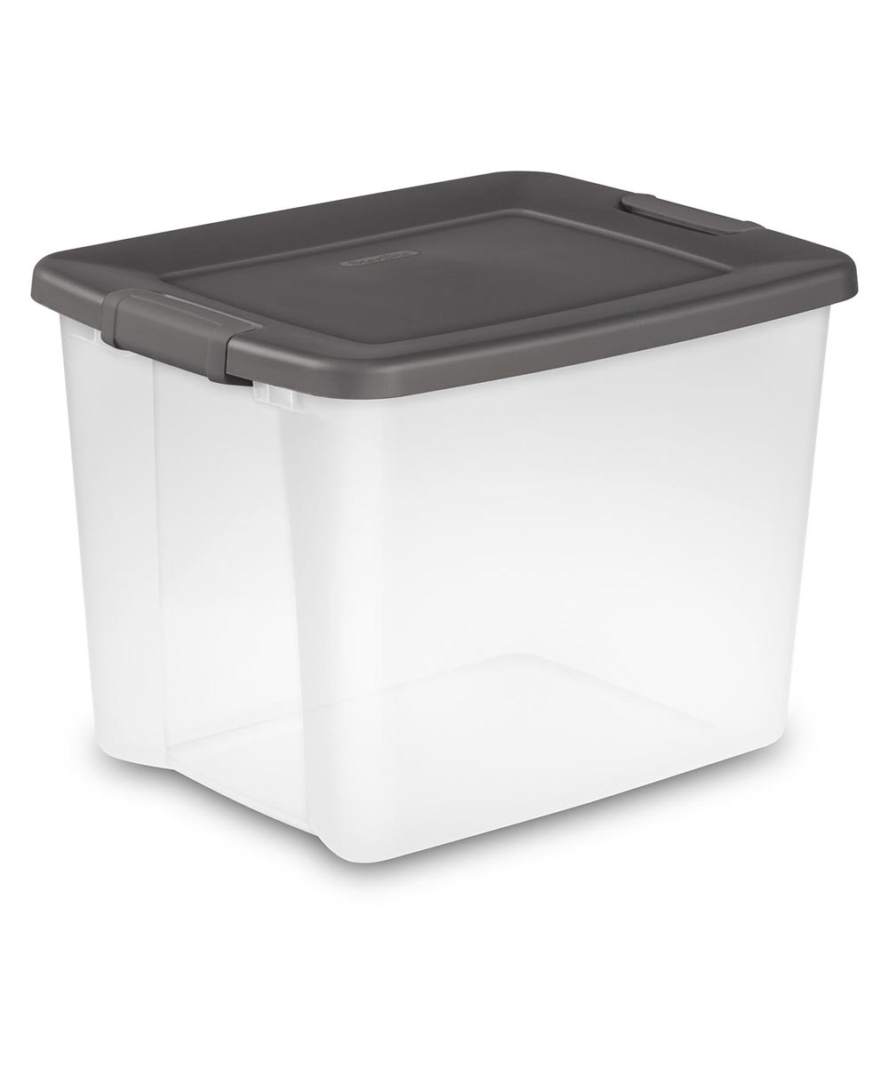 Sterilite 50 Quart Shelf Tote, Clear Base/Gray Lid
