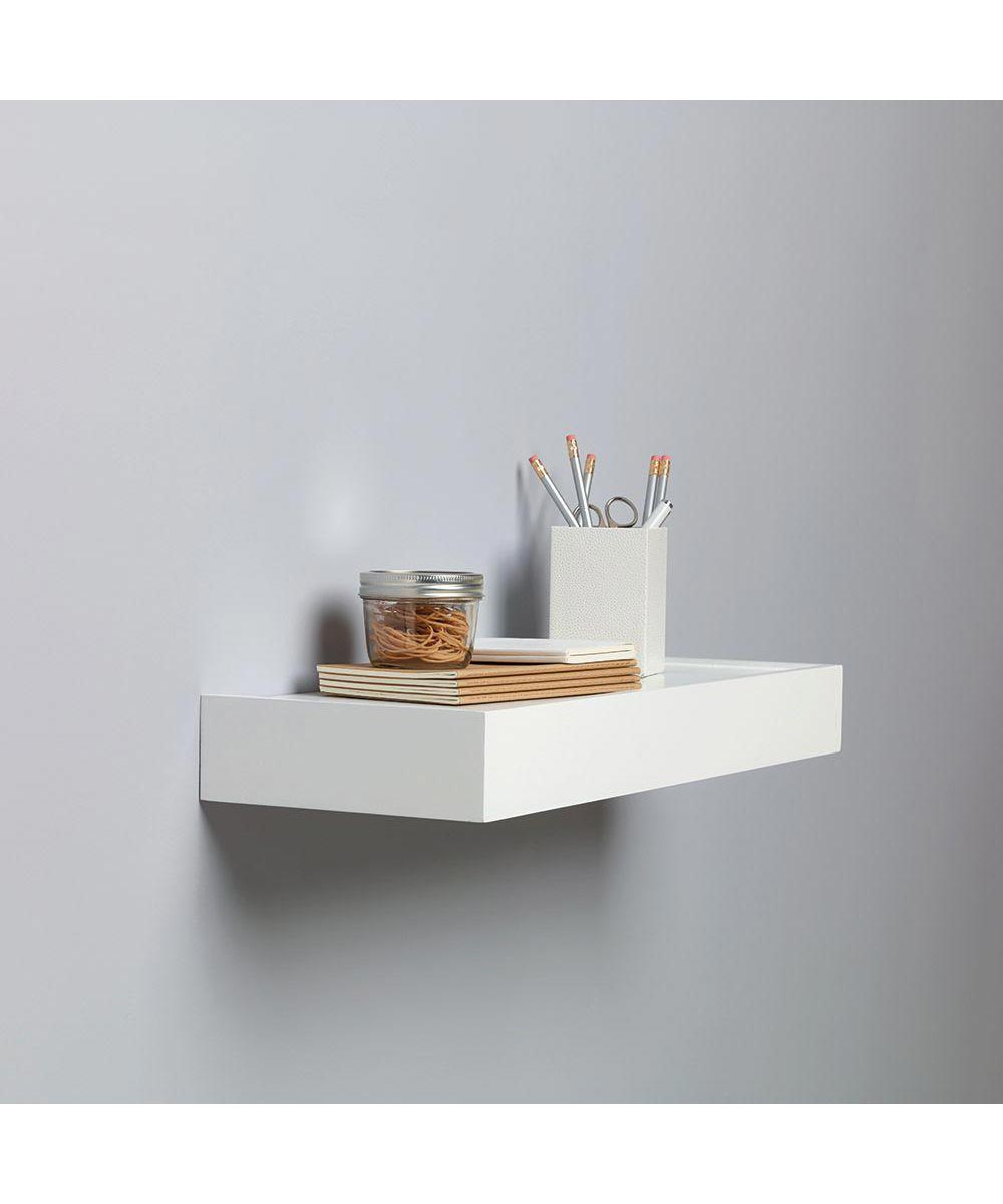24 Inch Floating Wall Shelf Kit, White