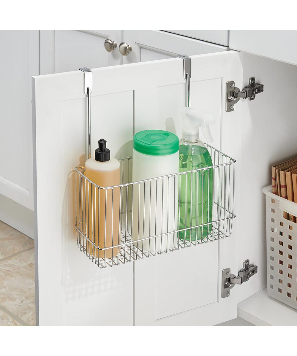 Classico Over-the-Door Cabinet Metal Storage Basket, Chrome Finish