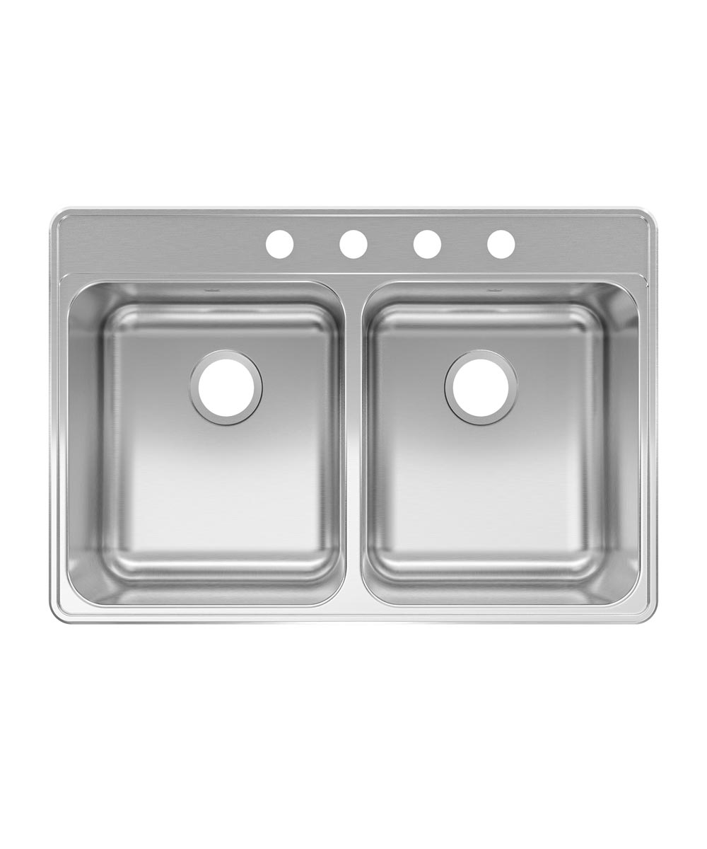 Kindred Creemore 33 in. x 22 in. x 8 in. Stainless Steel 4-Hole Top Mount Drop-In Double Bowl Kitchen Sink