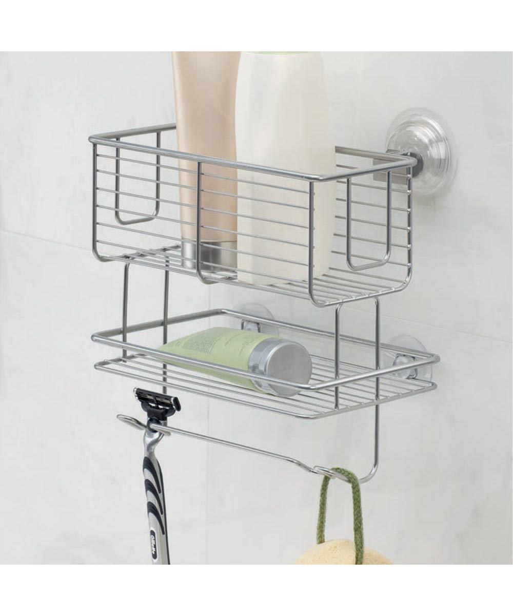 Classico 2-Tier Bathroom Suction Metal Basket Caddy with Hanging Hooks