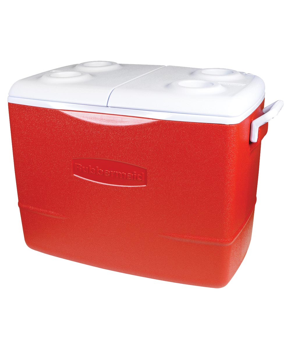 Rubbermaid Water Cooler, 50 qt, Plastic, Modern Red