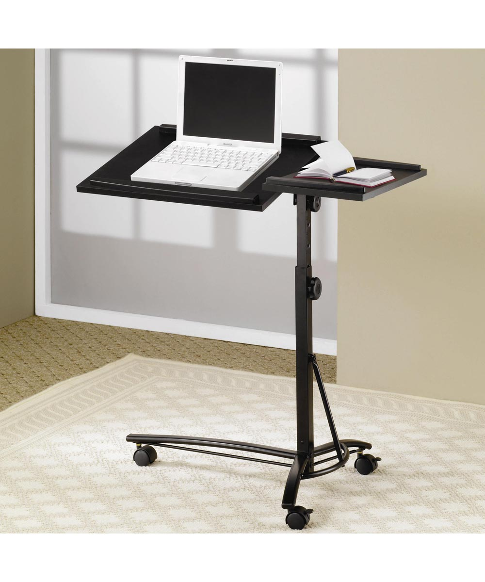 Laptop Computer Stand with Adjustable Swivel Top and Casters