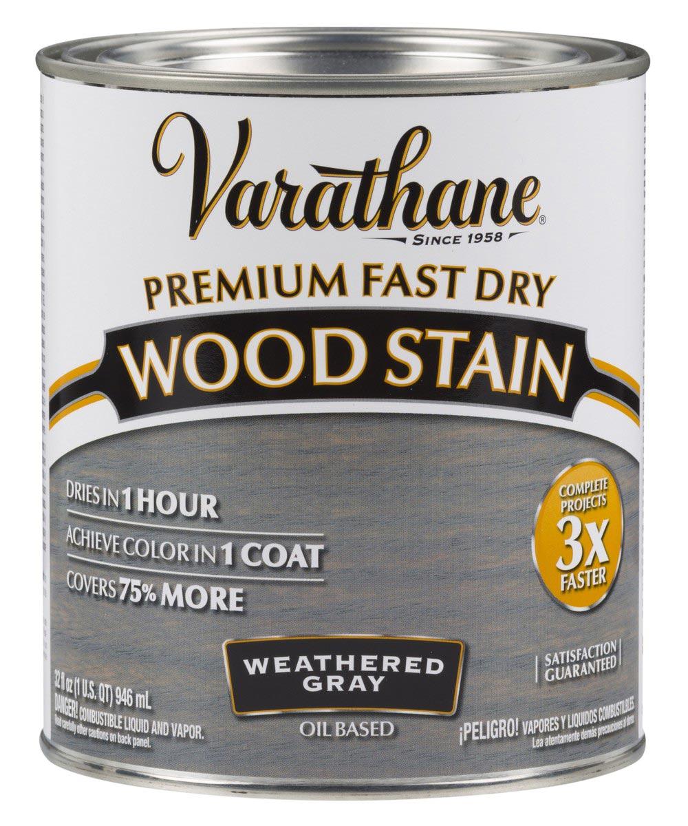 Varathane Premium Fast Dry Wood Stain, Quart, Weathered Gray