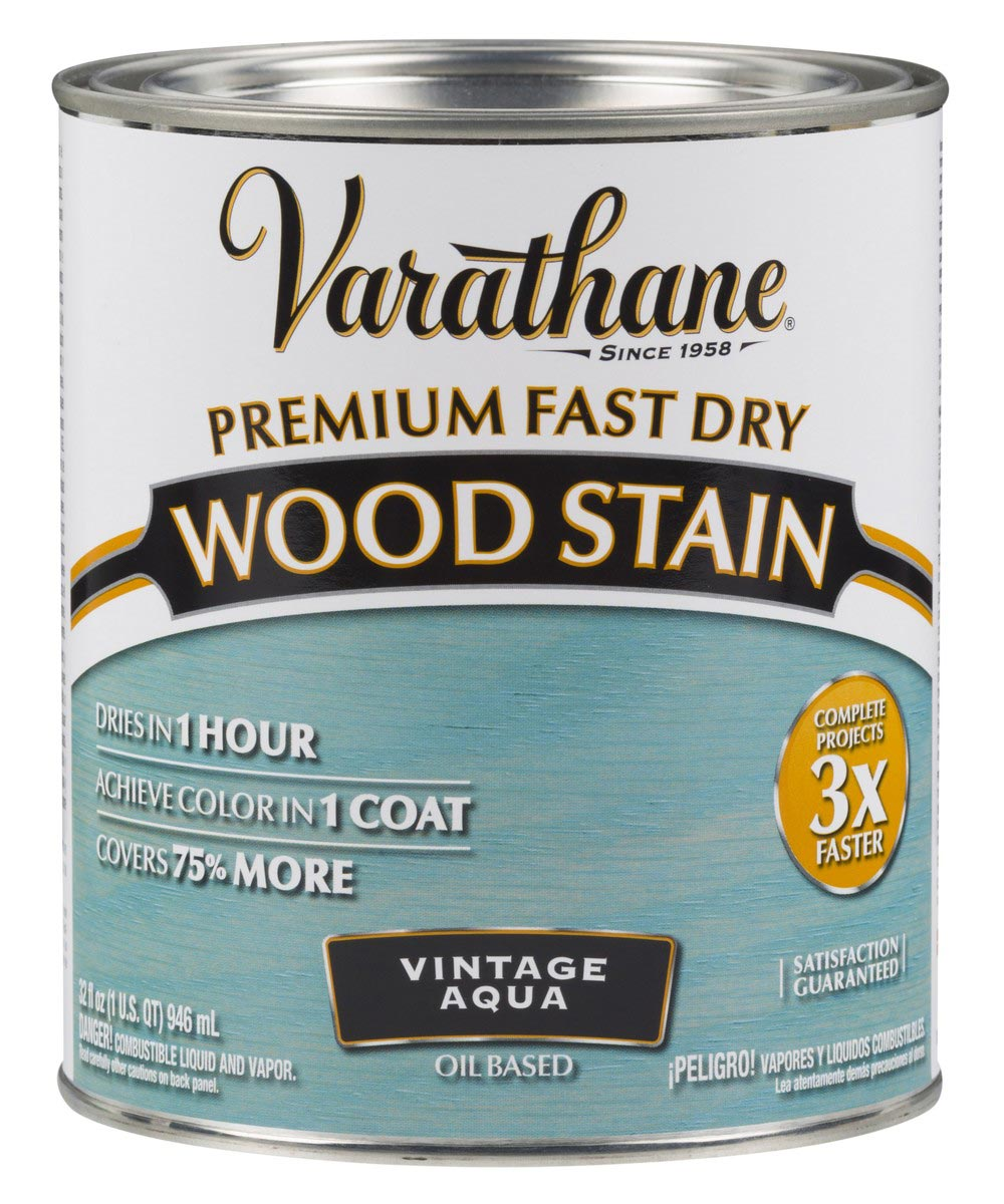 Varathane Fast Dry Wood Stain, Quart, Vintage Aqua