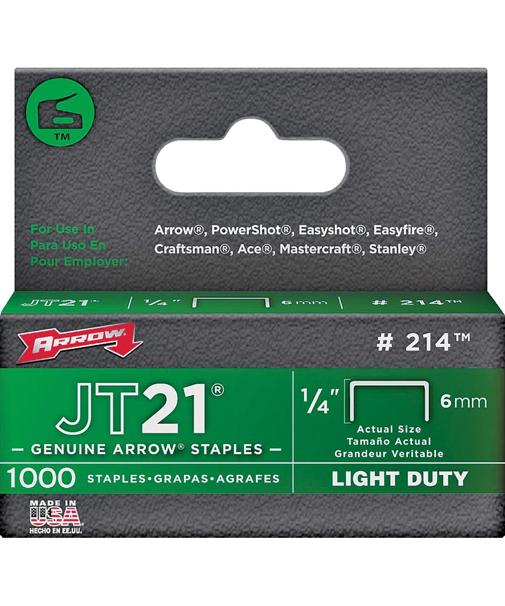 Light Duty Staple, Flat, 1/4 in. Leg