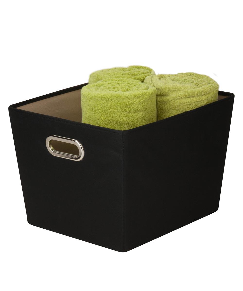 Medium Canvas Storage Bin with Chrome Grommet Handles, Black