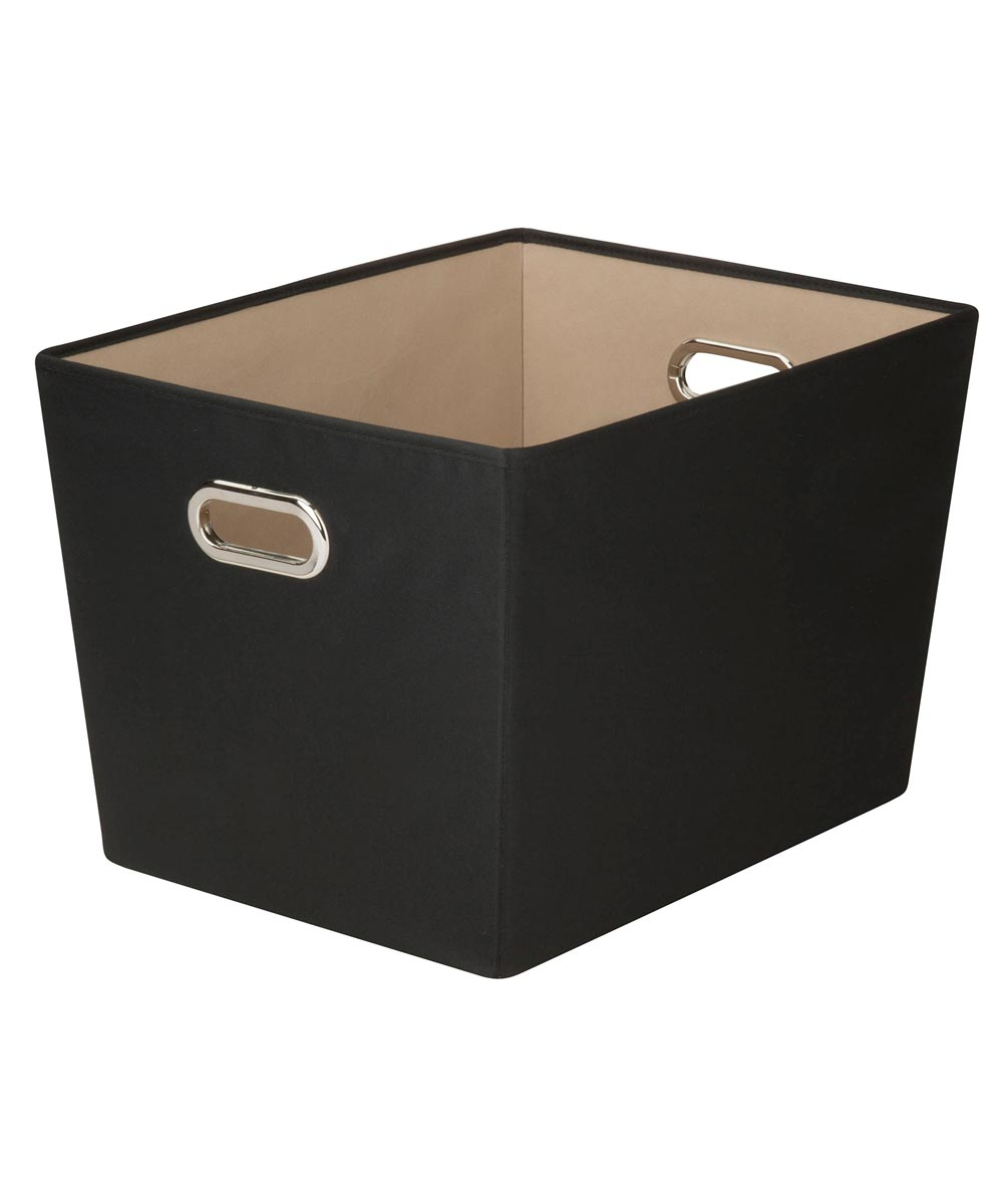 Large Canvas Storage Bin with Chrome Grommet Handles, Black