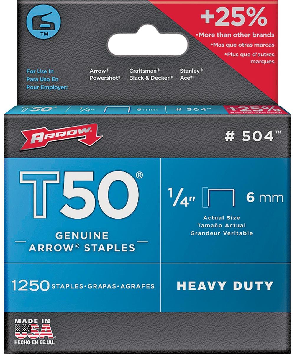 Heavy Duty Crown Staple, 3/8 in. Flat Crown, 1/4 in. Leg, Galvanized Steel
