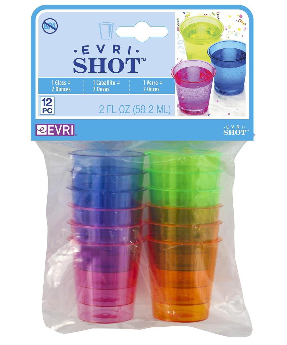 2 Ounce Evri-Shot Neon Shot Glasses, Multi-Color 12 Count