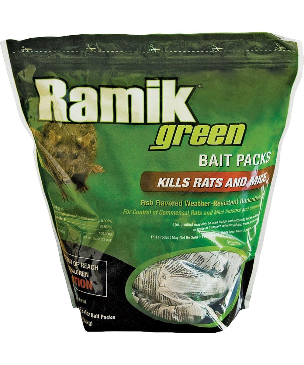 Ramik Weather-Resistant Rat & Mouse Killer Green Bait Packs, 16 Pack