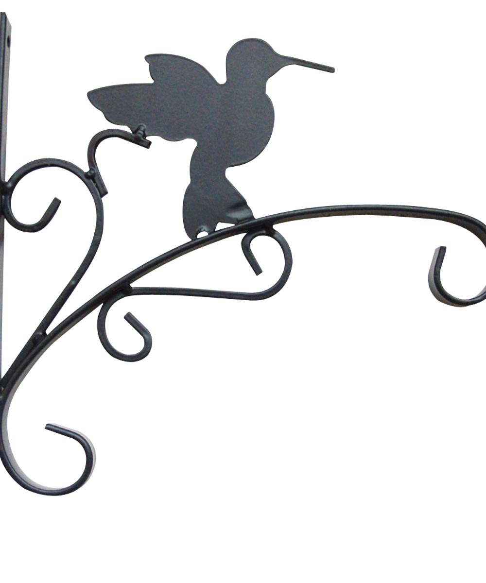 ProSource Hum Bird Hanging Plant Bracket, 11 in. (L), Wall Mount, Matte Black