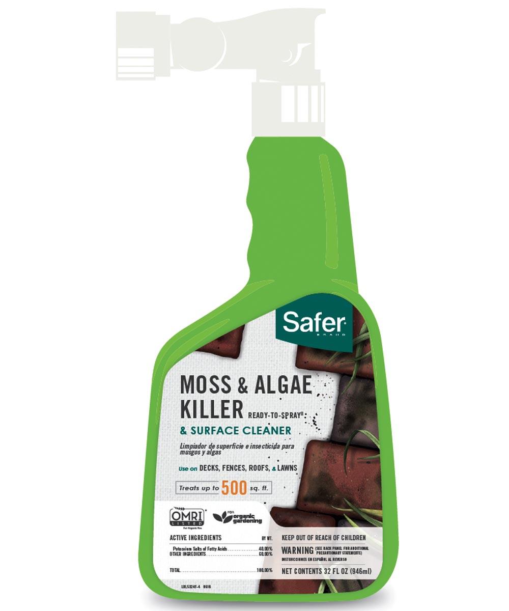 Safer Concentrate Moss/Algae Killer, 32 oz., Trigger Spray Bottle, Liquid, Milky White, Lard Like, 11.1 pH