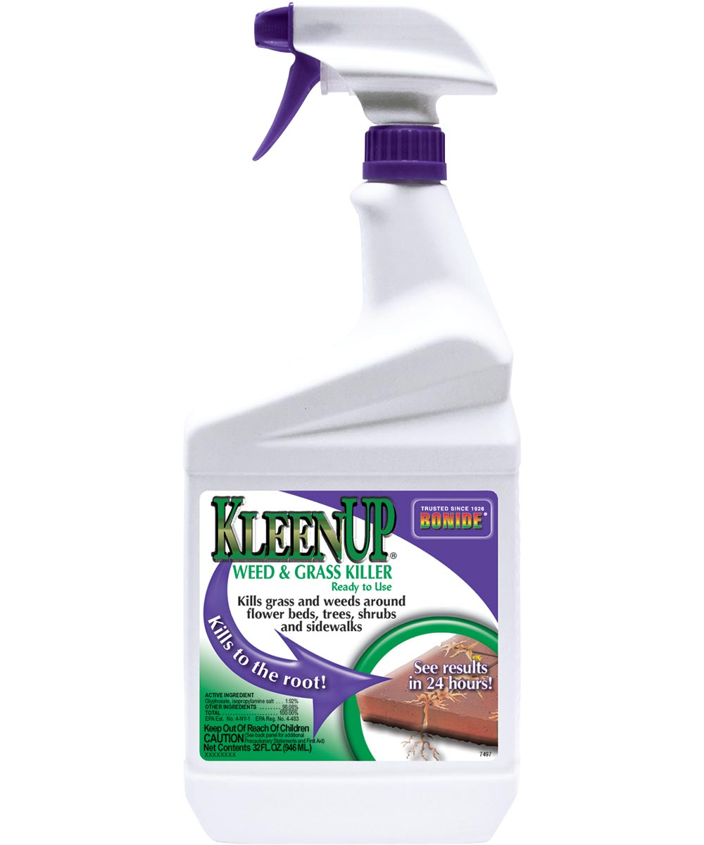 KleenUp Ready-To-Use Weed and Grass Killer, 1 qt, Yellow/Off-White, Liquid