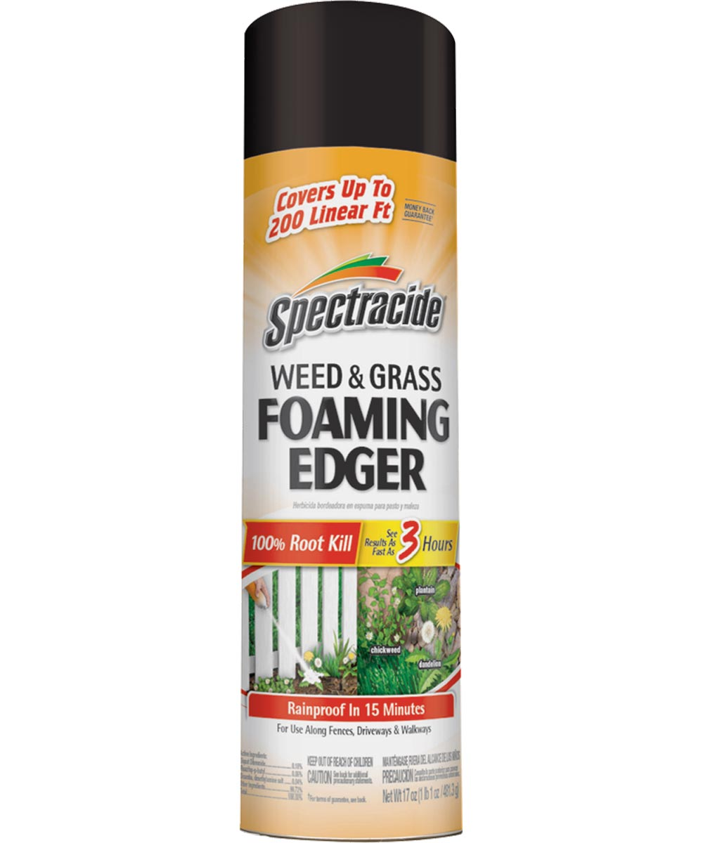 Spectracide Weed and Grass Foaming Edger, 170 oz., Bottle, 200 ft Linear, White, Foam