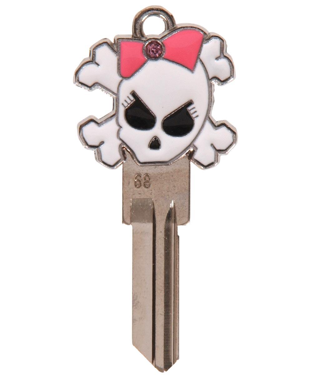 3D Skull with Bow Key Blank