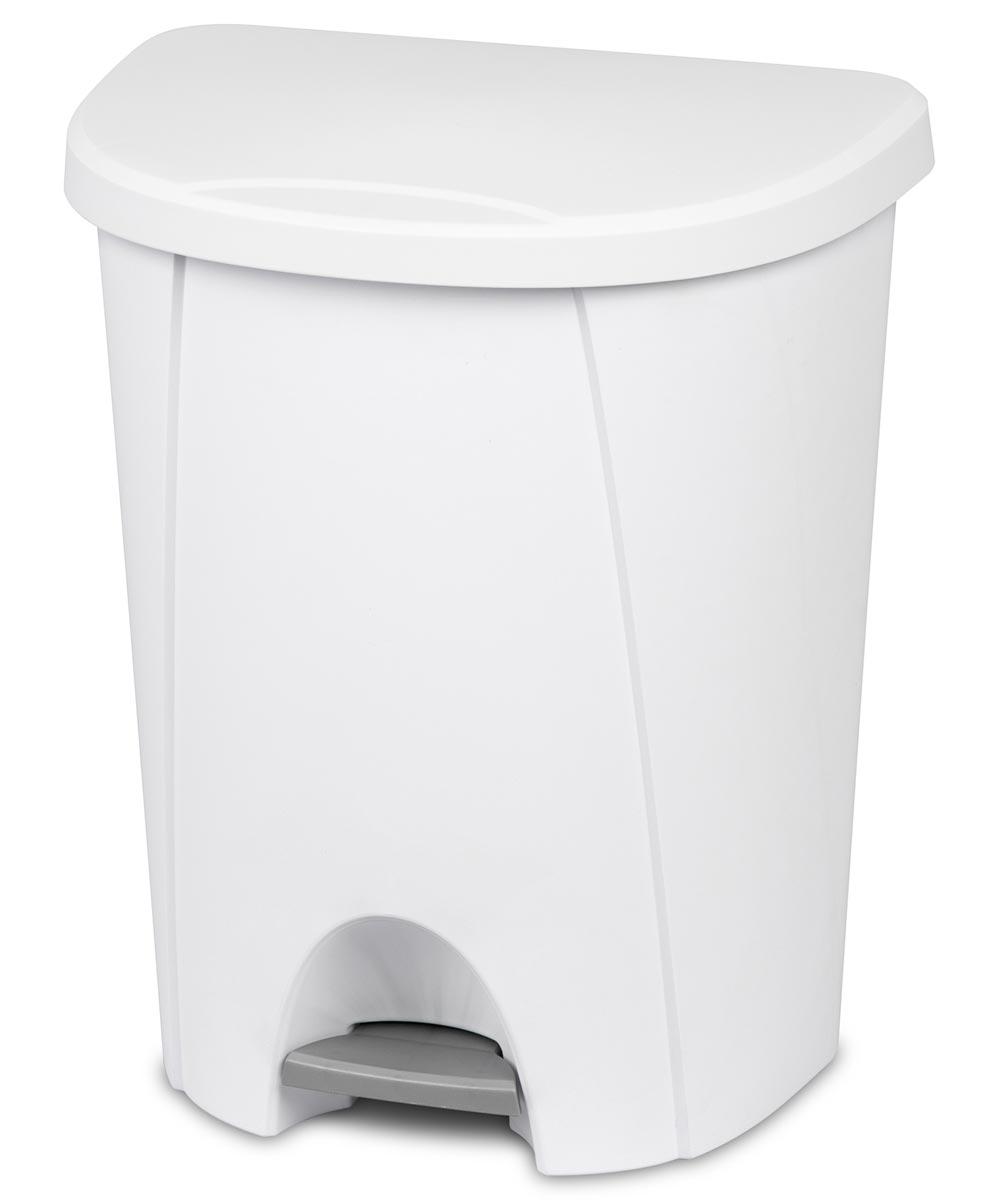Sterilite 6.6 Gallon StepOn Trash Can, White