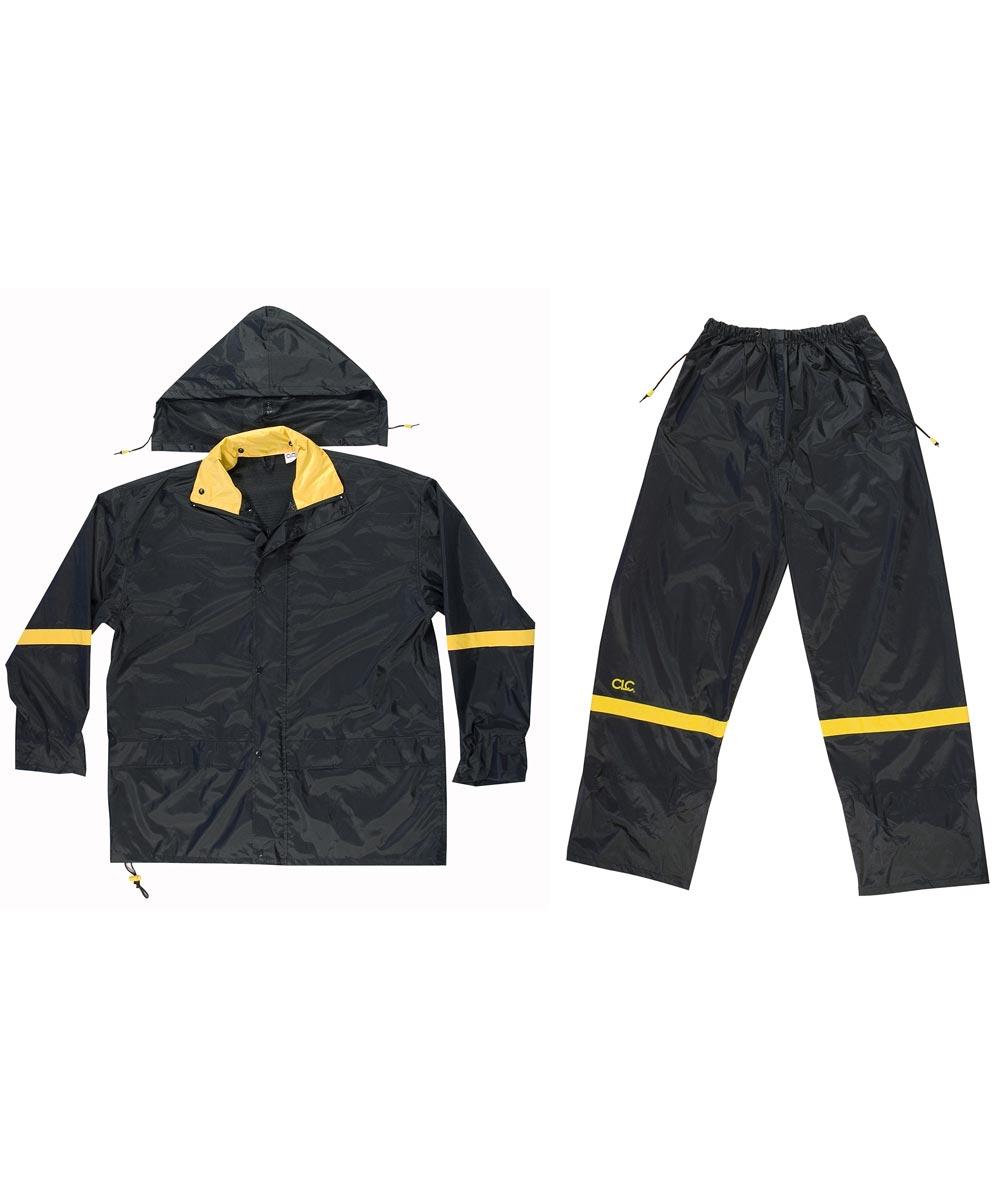 Large Black Nylon Rain Suit Set